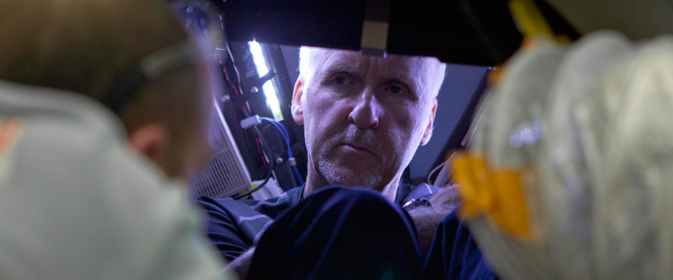 Photo: James Cameron looking into the DEEPSEA CHALLENGER