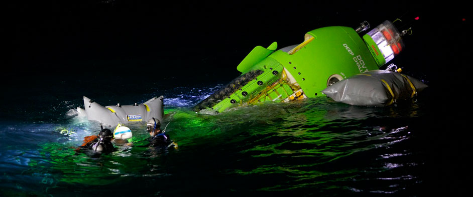 Photo: DEEPSEA CHALLENGER sub in the water