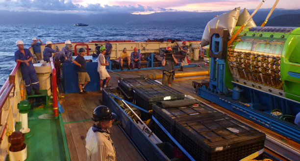 Photo: Crew members gather on the deck of the Mermaid Sapphire