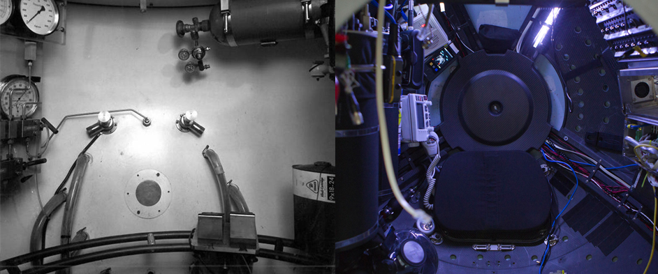 Photo: Side-by-side comparison of the Trieste (left) and DEEPSEA CHALLENGER interiors