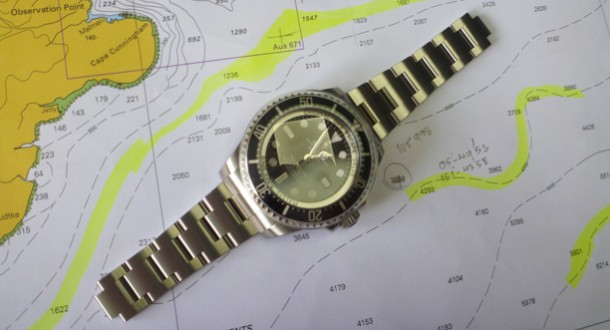 Photo: A Rolex watch rests on a chart
