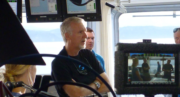 Photo: James Cameron on the bridge during a predive meeting