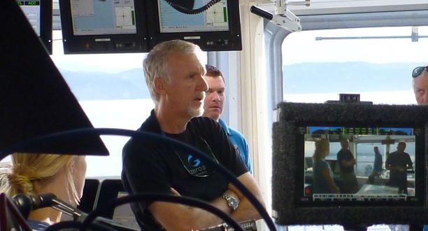 Photo: James Cameron on the bridge during a predive meeting