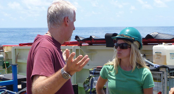 Photo: James Cameron discusses the next lander mission with Dr. Erika Montague