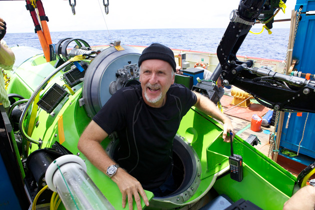 <em>Photo by Mark Thiessen/National Geographic</em><br> Cameron emerges from the <em>DEEPSEA CHALLENGER</em> after his successful solo dive to the Mariana Trench, the deepest part of the ocean.